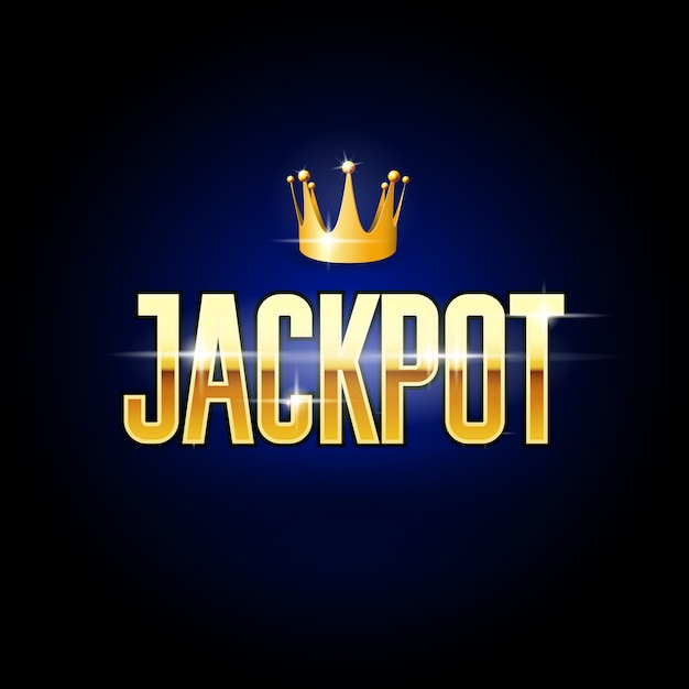 Golden title jackpot and crown - casino and gambling poster Premium Vector