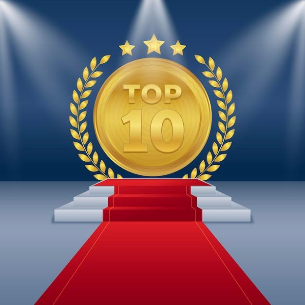 Golden top ten best podium award Free Vector