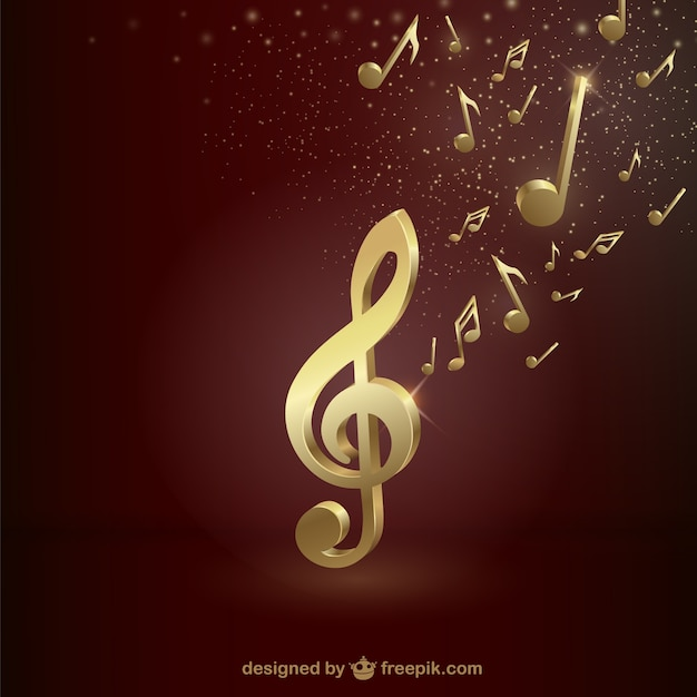 Golden treble clef Premium Vector
