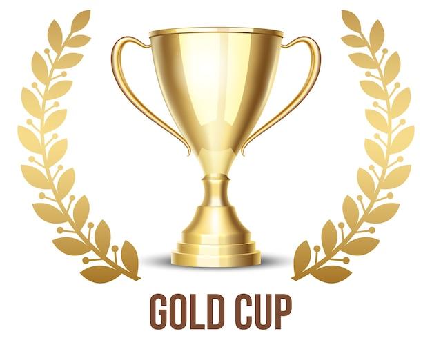 Golden trophy cup with laurel wreath Free Vector