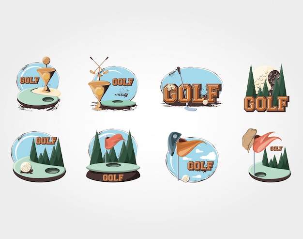 Golden trophy golf tournament Premium Vector