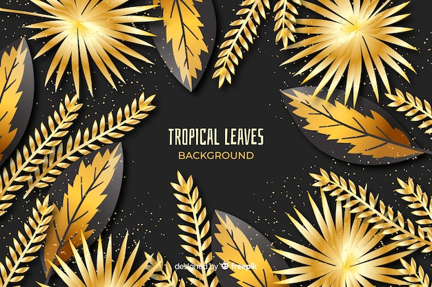 Golden tropical leaves background Free Vector