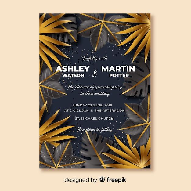 Golden tropical leaves wedding invitation Free Vector