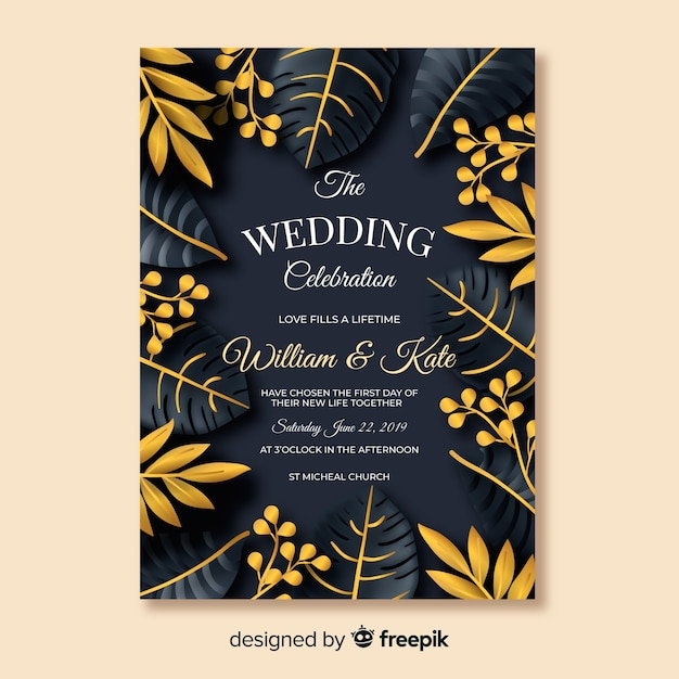 Golden tropical leaves wedding invitation Free Vector