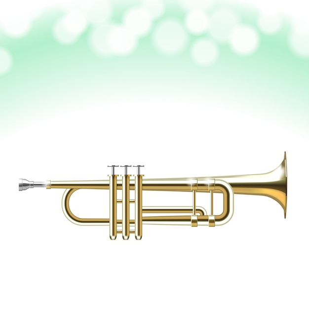 Bokeh 빛으로 고립 된 황금 트럼펫 무료 벡터