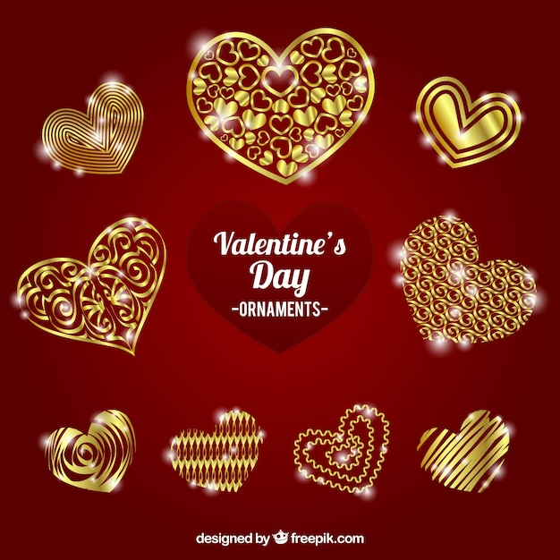 Golden valentine ornaments with\ heart-shaped