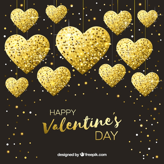 Golden valentine's day background with hearts Free Vector