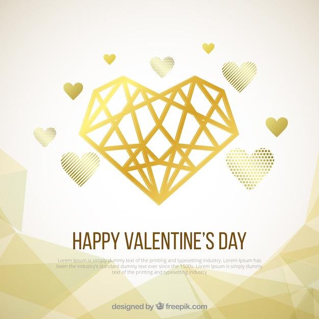 Golden valentine\'s day background
