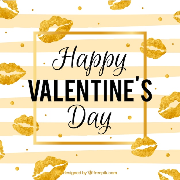 Golden valentine's day background Free Vector