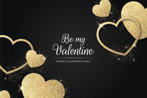 Golden valentine's day background Premium Vector