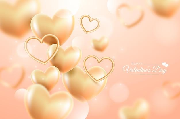 黄金のバレンタインデーの背景 無料ベクター