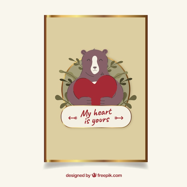 Golden valentine's day card with a bear Free Vector