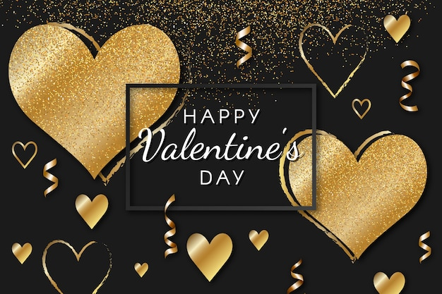 Golden valentines day background concept Free Vector