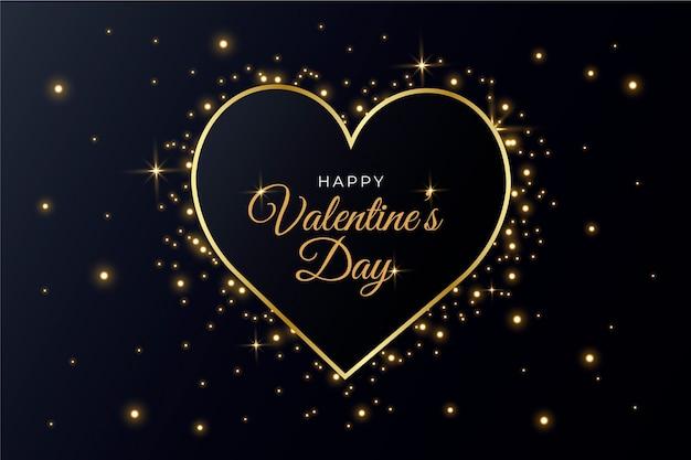 Golden valentines day wallpaper Free Vector