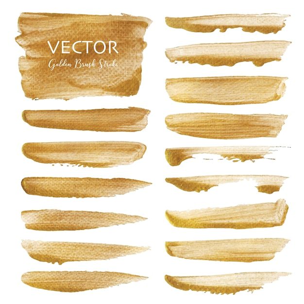 Golden vector brush stroke Premium Vector