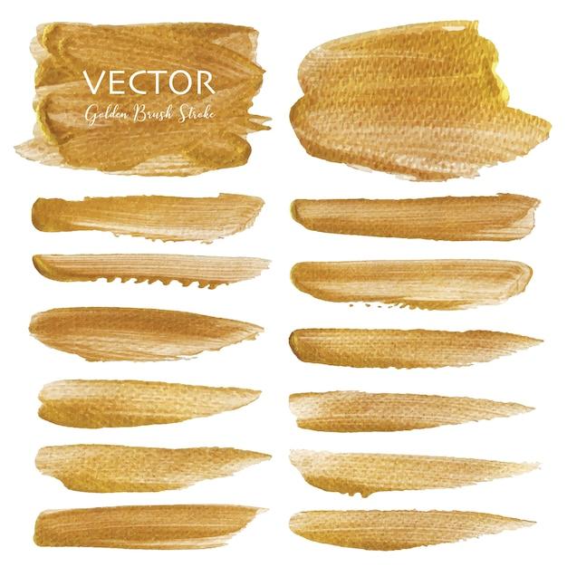 Golden vector brush stroke Premium Vector