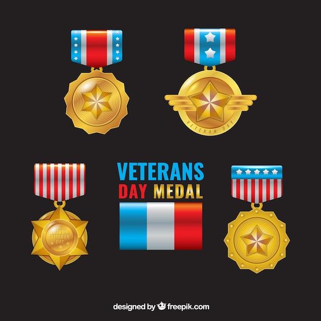 Golden veterans day medals