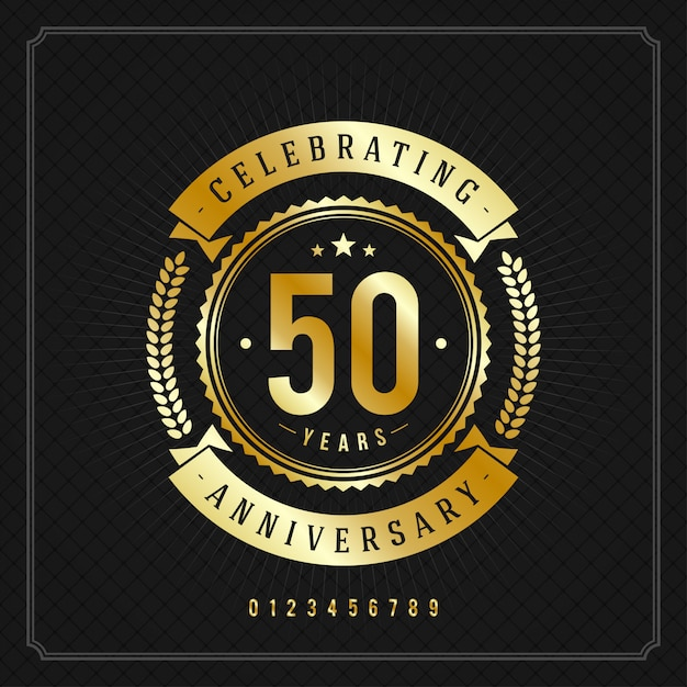 Golden vintage anniversary message badge with ribbons and wreath Premium Vector