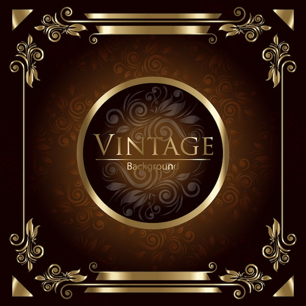 Golden vintage background Free Vector