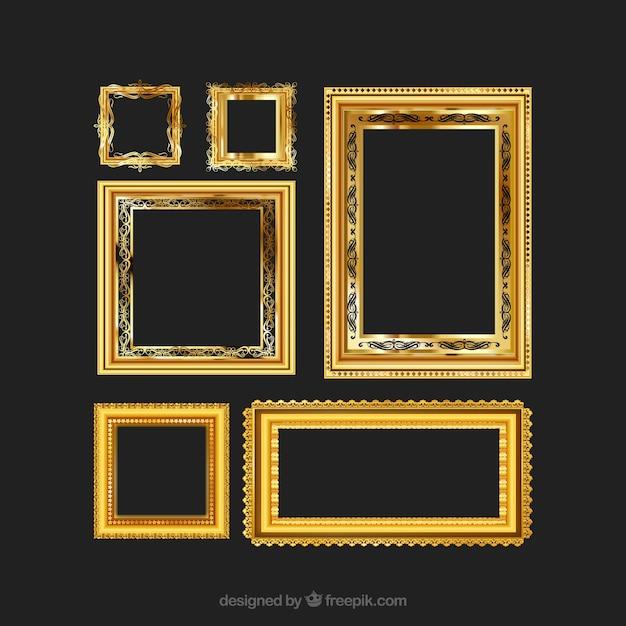 Golden vintage frames Free Vector