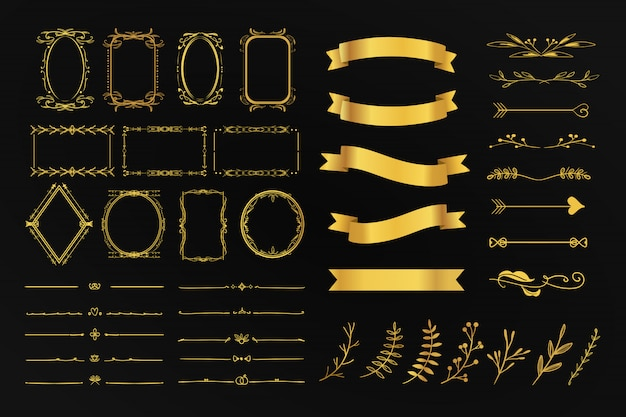 Golden vintage set collection of ornament floral frame divider, arrow and ribbon detail for wedding card and promotion. Premium Vector
