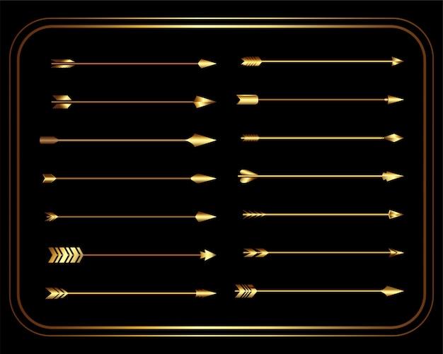 Golden vintage tribal arrows set Free Vector
