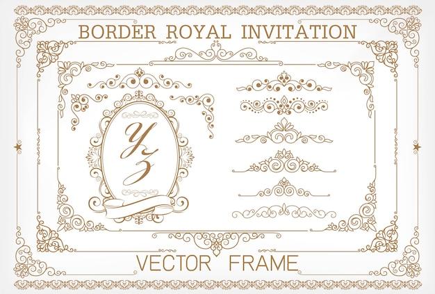Golden vintage vector set. floral elements Premium Vector