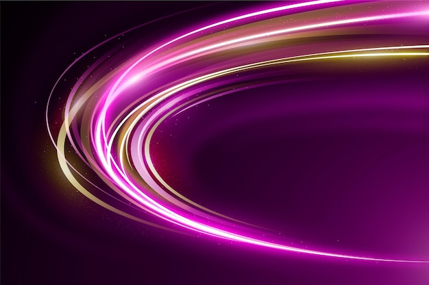 Golden and violet speed neon lights background Free Vector