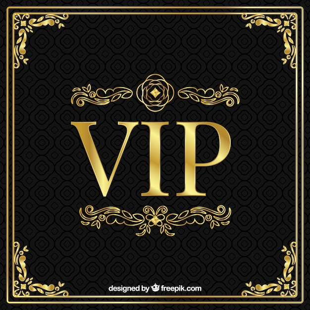 Golden vip background with ornaments Free Vector