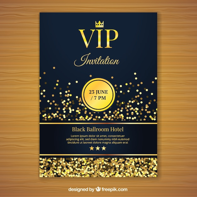 Golden vip invitation template Vector Free Download