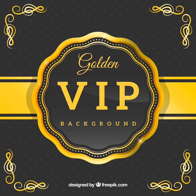 Golden vip retro badge background