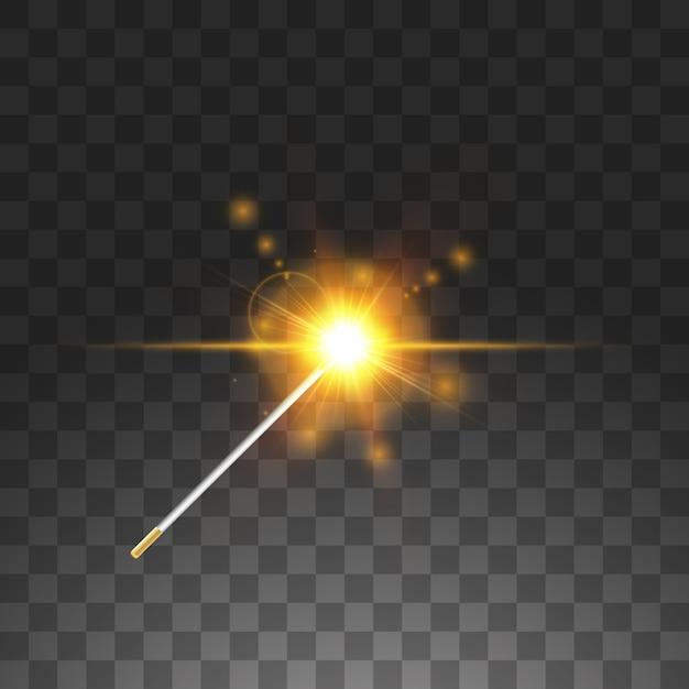 黄金の杖。図。透明な背景に。 Premiumベクター