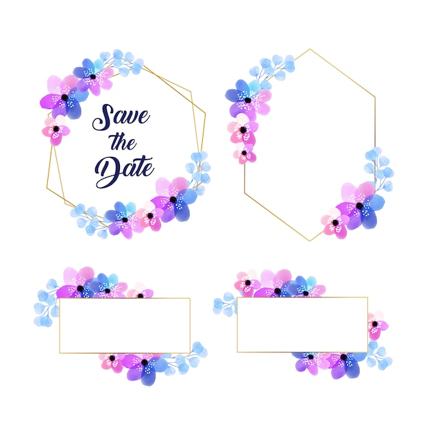 Golden watercolor floral frame collection Free Vector