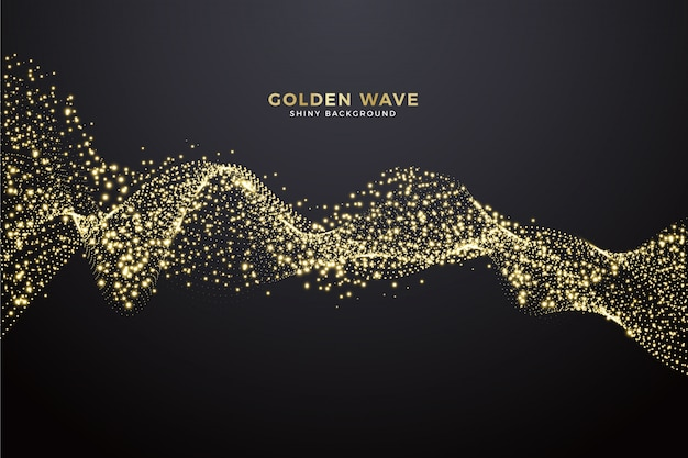 Golden wave background Free Vector