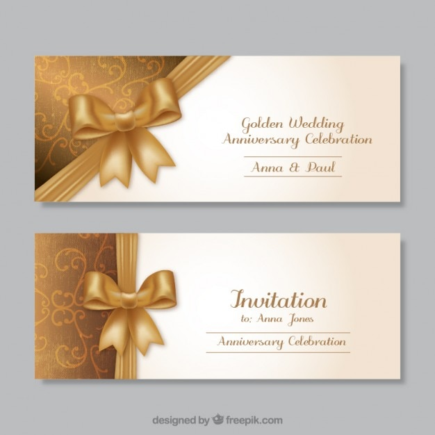 Golden wedding anniversary invitations Free Vector
