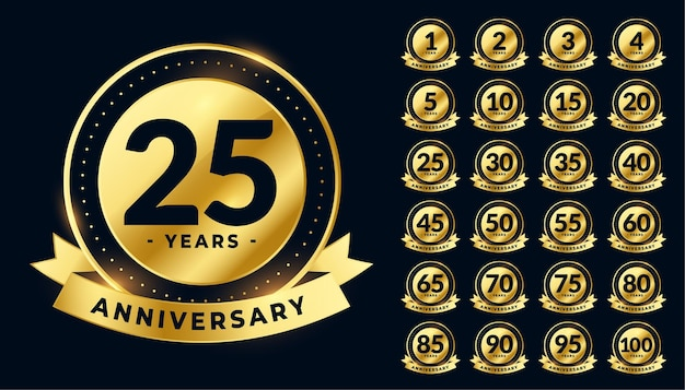 Golden wedding anniversary labels big set Free Vector