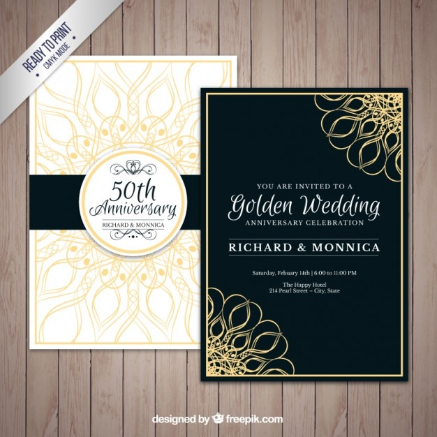 Golden wedding anniversary pack vector free download golden wedding anniversary pack free vector stopboris Image collections