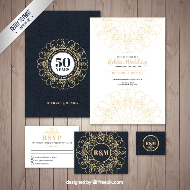 Golden wedding brochure pack Free Vector
