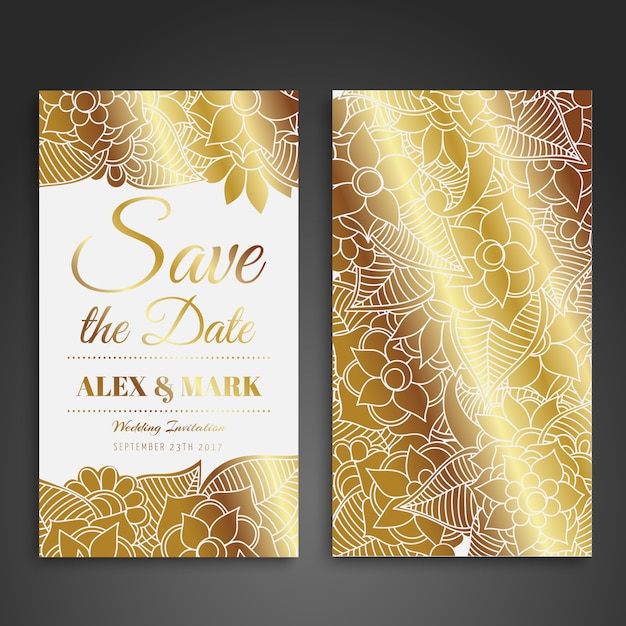 golden wedding card design vector free download