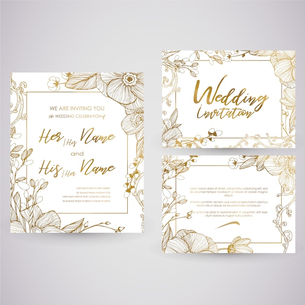 golden wedding card vector premium download