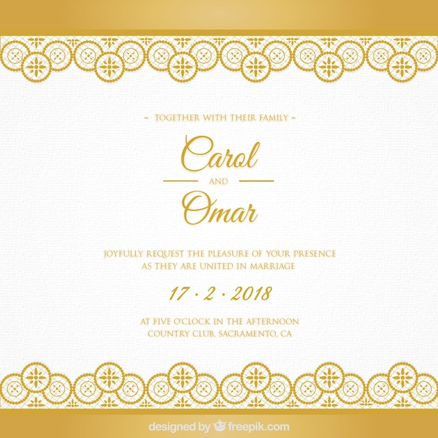 golden wedding card vector free download