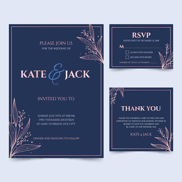 Golden wedding cards Premium Vector