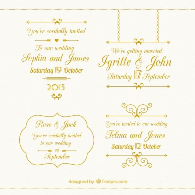 Золотая коллекция свадебных элементы Бесплатные векторы