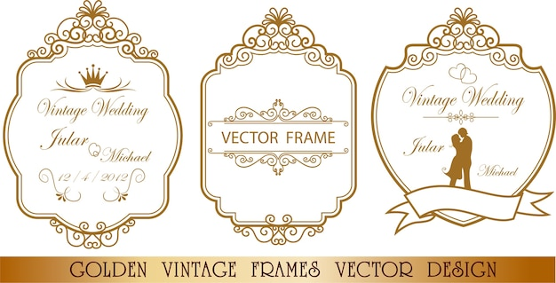 31528439dcfb Golden wedding frame floral Premium Vector