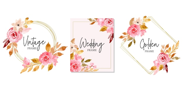 Golden wedding frame with watercolor floral collection Premium Vector