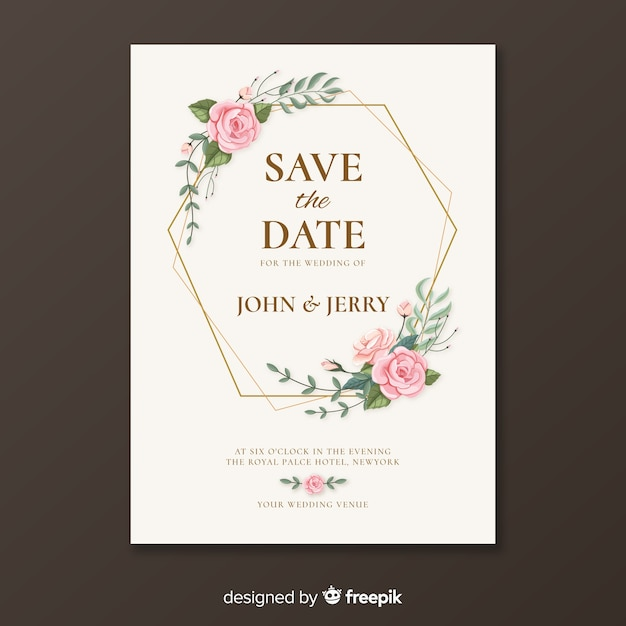 Golden wedding invitation template Free Vector