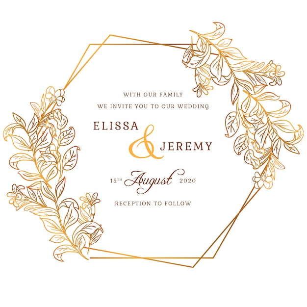 Golden wedding invitation Free Vector