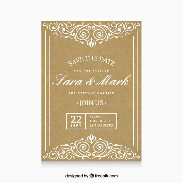 Wedding invitation freepik all the best ideas about marriage golden wedding invitation vector free download stopboris Choice Image