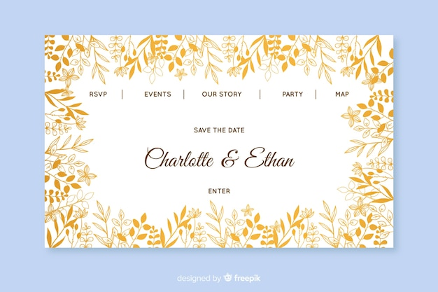 Golden wedding landing page template Free Vector