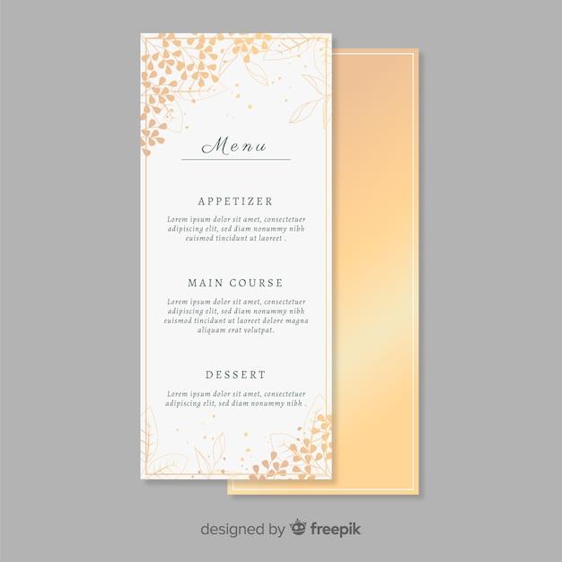 Golden wedding menu template Free Vector